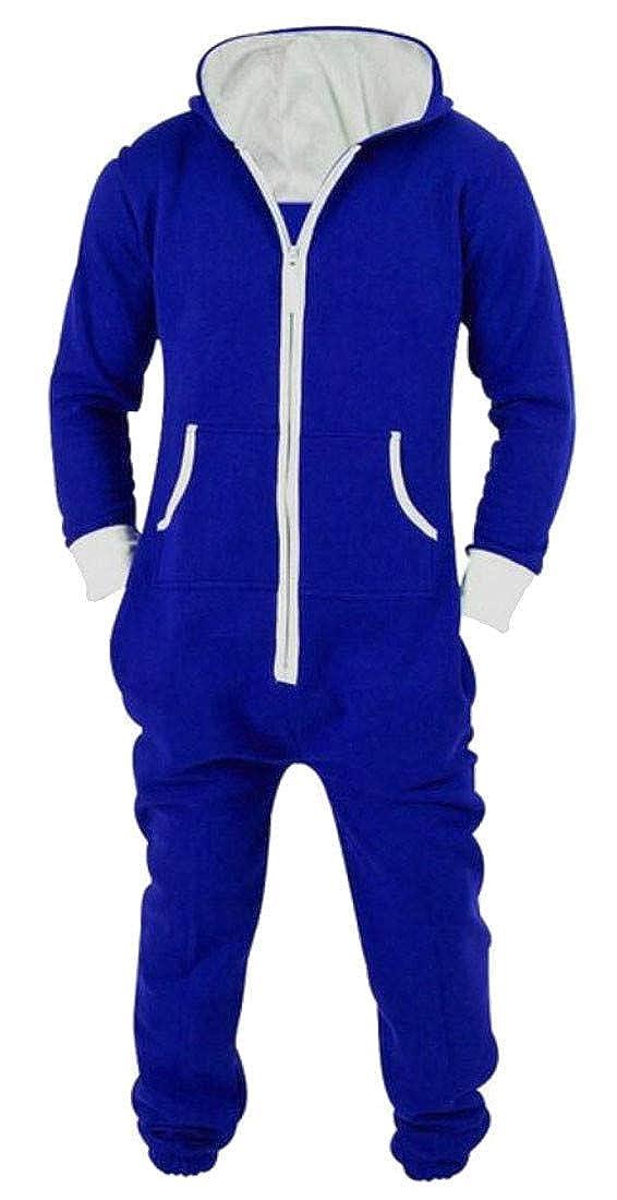 Hajotrawa Mens Hooded Lounge One-Piece Solid Jumpsuit Zipper Sleepwear