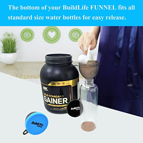 BuildLife Fill N Go Funnel - Protein Funnel - Supplement Funnel - Water Bottle Funnel - Powder Container for Supplements, Protein Powder(4 Pack) by BuildLife (Image #3)