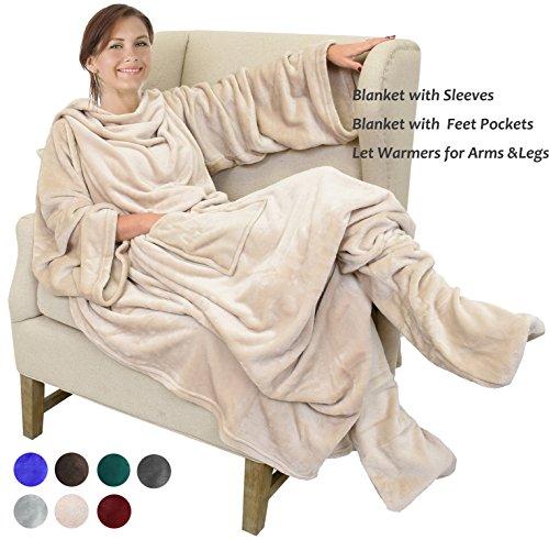 "Catalonia Wearable Fleece Blanket with Sleeves & Feet pockets for Adult Women Men, Micro Plush Wrap Sleeved Throw Blanket Robe Large 75"" x (Sleeve Blanket)"