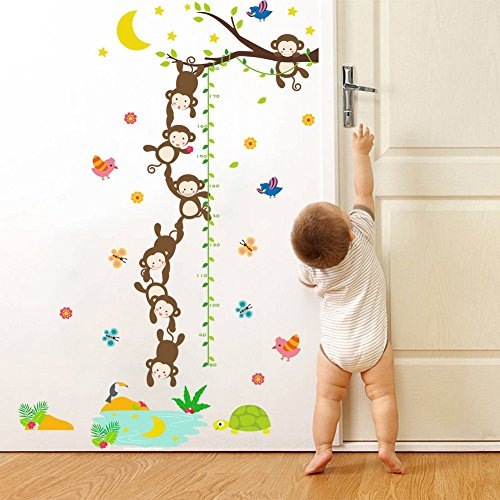 MLM Monkey Grasp the Moon Fishes Height Scale Measure Growth Chart Wall Stickers For Kids Baby Nursery Bedroom Home Decor Decal Art