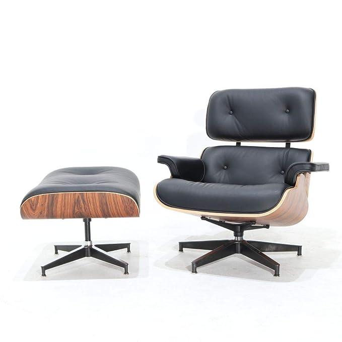 kreastore Sillón Charles Eames con reposapiés auténtica Piel ...