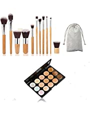 ArRord 15 Colors Classic Contour Face Cream Makeup Concealer Palette + 11pcs Professional Makeup Cosmetic Brush Set Eyebrow Eyeliner Foundation Powder Bamboo Brush with Bag