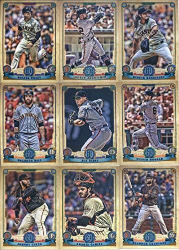 2019 Gypsy Queen Baseball San Francisco Giants Team Set of 11 Cards: Buster Posey(#17), Brandon Belt(#46), Dereck Rodriguez(#61), Andrew McCutchen(#77), Steven Duggar(#108), Joe Panik(#129), Aramis Garcia(#165), Johnny Cueto(#193), Chris Shaw(#248), Evan Longoria(#264), Brandon Crawford(#265)