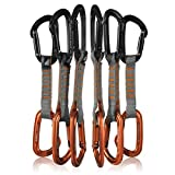 Fusion Climb 6-Pack 11cm Quickdraw Set with Contigua Black Straight Gate Carabiner/Contigua Orange Straight Gate Carabiner