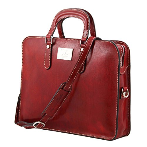Alba Leather Women's Leather Tuscany 1 Black briefcase compartment Red ZPxAq5ntwq