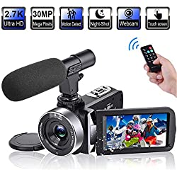 "Video Camera Camcorder with Microphone 2.7K 30FPS 30MP Vlogging Camera with Rotatable 3.0"" Touch Screen and Time-Lapse YouTube Camera IR Night Vision Webcam (V9)"