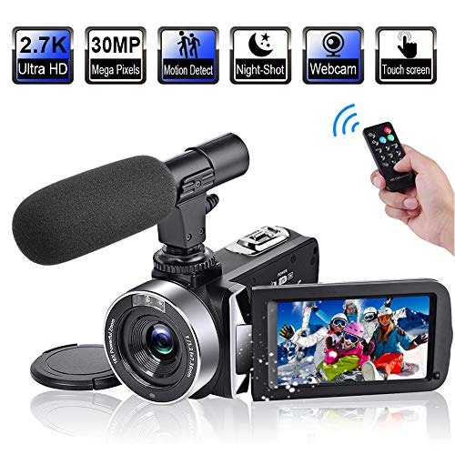 "Video Camera Camcorder with Microphone 2.7K 30FPS 30MP Vlogging Camera with Rotatable 3.0"" Touch Screen and Time-Lapse YouTube Camera IR Night Vision Webcam"
