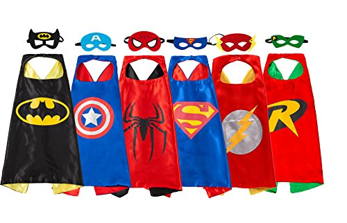 [Super Hero Capes And Masks 6 set Dress Up Halloween Costumes For Kids] (Super Easy Halloween Costumes For Kids)