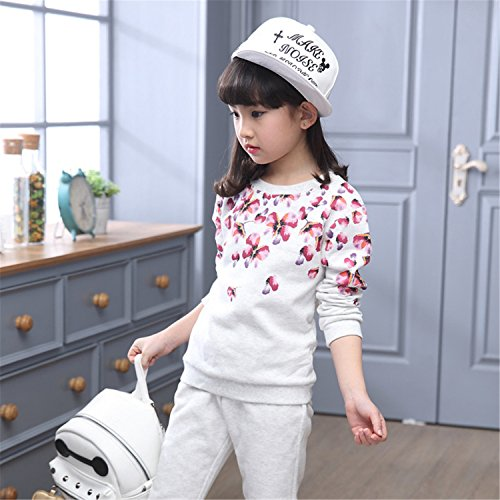 ODFAPP Adorable Girls children clothing set spring autumn sport plaid hoodie+pants two piece kids clothes tracksuit 5~11 years old girls clothes Silver10 - Walnut Store Creek Sports