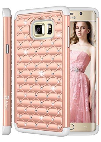 Galaxy S6 Edge PLUS Case, Style4U Studded Rhinestone Crystal Bling Hybrid Armor Case Cover for Samsung Galaxy S6 Edge Plus / S6 Edge + with 1 Style4U Stylus [Rose Gold / Grey]