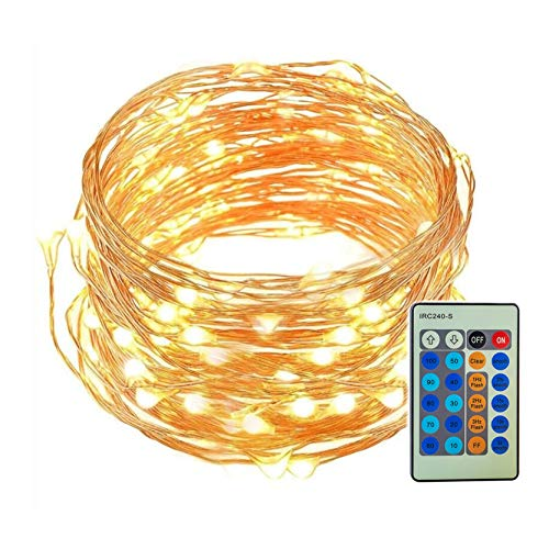 FIGROL LED String Lights with Remote Control 33ft with 100 LEDs Dimmable String Lights for Bedroom, Patio, Indoor/Outdoor Waterproof Christmas Lights for Birthday, Wedding,Party(Warm White)
