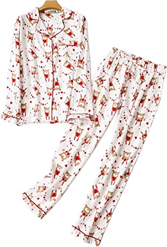 Nuosha-BABY Womens Flannel Pajama Set 100% Cotton Soft PJs Long Sleeve Sleepwear White Bear 2XL