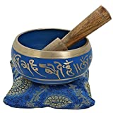 4 Inches Hand Painted Metal Tibetan Buddhist Singing Bowl Musical Instrument for Meditation with Stick and Cushion