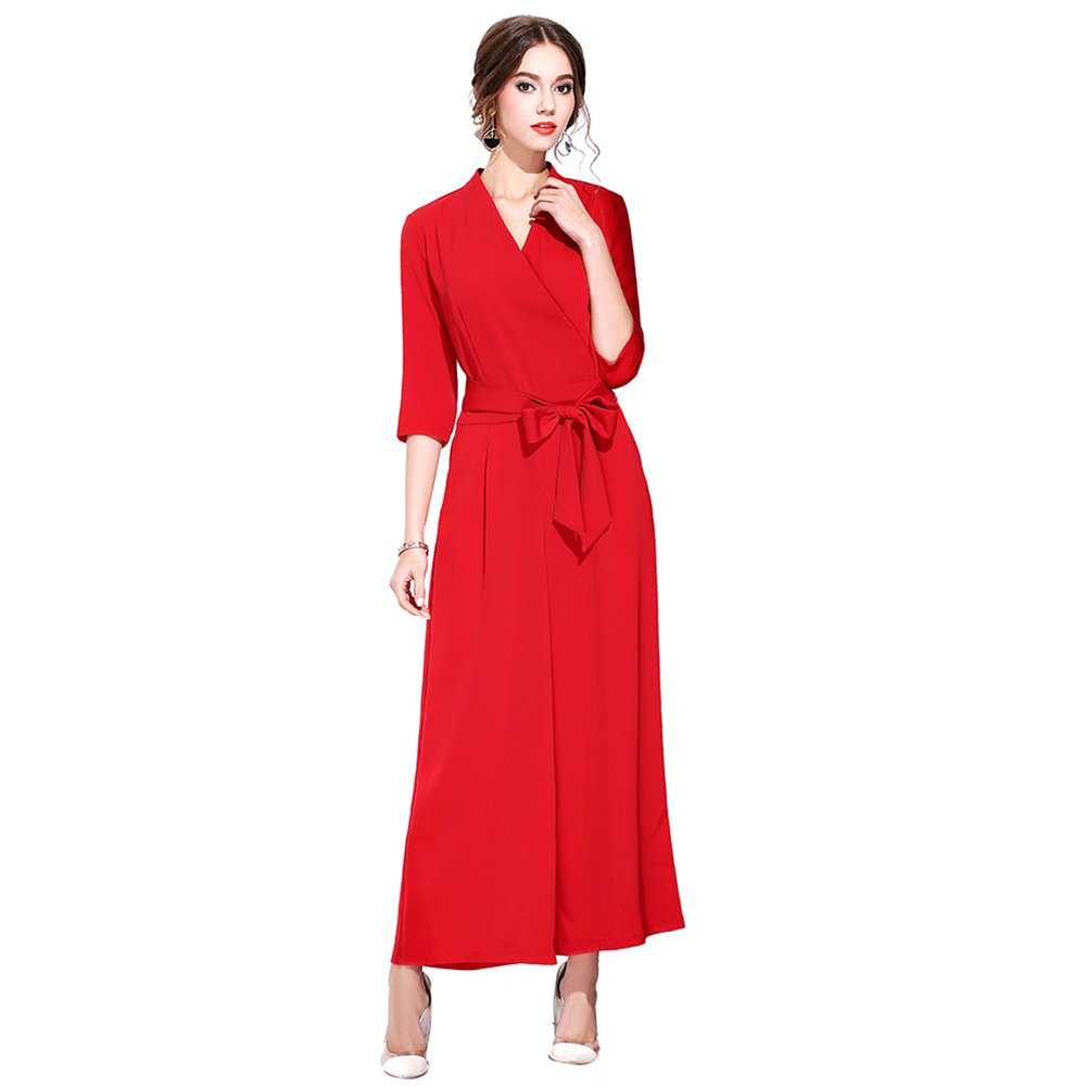 Burdully Women's Jumpsuits Rompers High Waist V Neck 3/4 Sleeve Belted Zipper Back Wide Leg Long Pants 17143