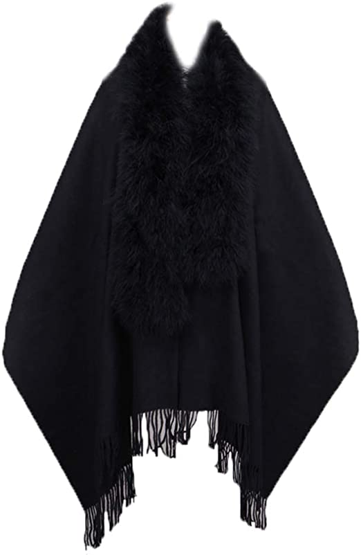 Newest  Real Ostrich Feather Fur Cashmere Cape Soft  Warm party Winte
