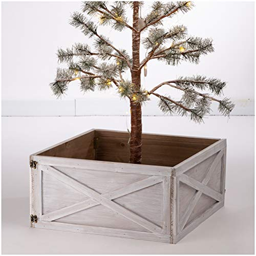 "Glitzhome Washed White Wooden Tree Collar Tree Stand Cover Christmas Tree Skirt Tree Box, 22"" L"