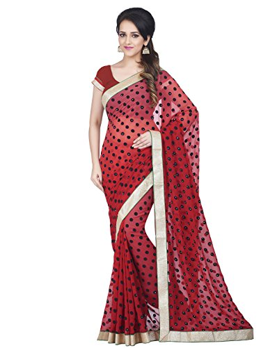 Shonaya-Red-Georgette-Stone-Work-saree-Unstitched-Blouse-PieceFree-Size