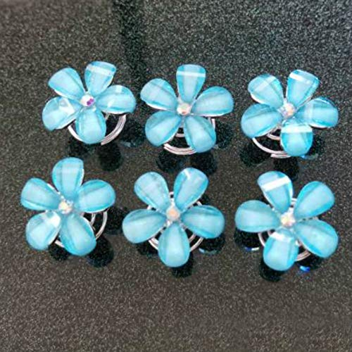 Aysekone 6 Pcs/Pack Five Lake Blue Petals Flower Bridal Hair Pin Twister Coil Spiral with Rhinestone Crystal for Wedding, Prom, Party and Special Event