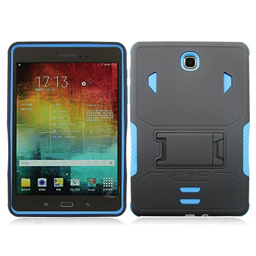 iRhino For 2015 Samsung Galaxy Tab A 8.0 / 8-inch (SM-T350) Heavy Duty Armor Rugged Hybrid Kickstand Protective Cover Case (Black on Blue)