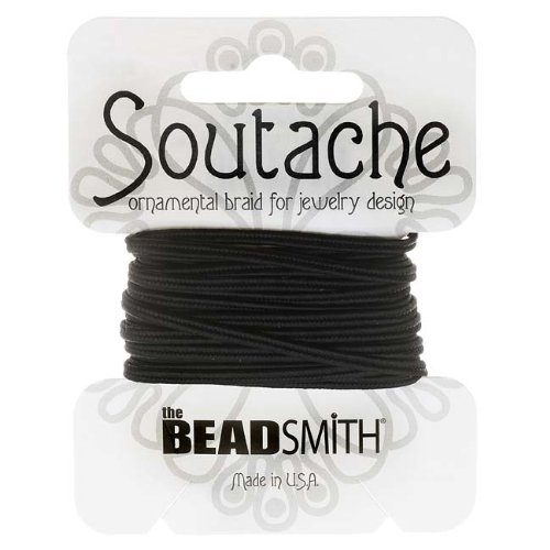 (Beadsmith Soutache Braided Cord 3mm Wide - Black (3 Yard Card))