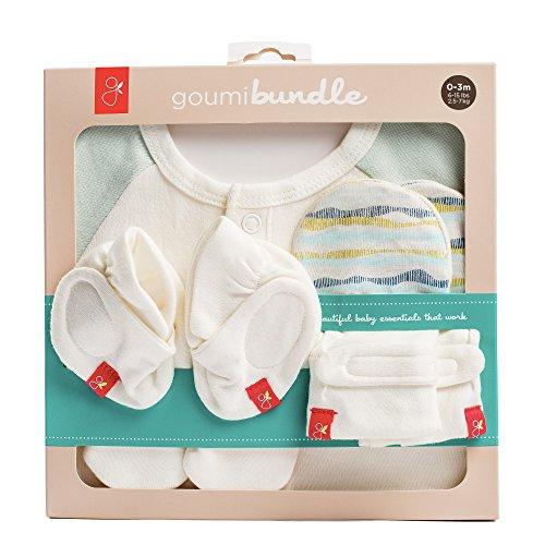 Newborn Organic Cotton Gift Set: Mitts, Booties, and Jamms Baby Gown (Geo Wave (Aqua))