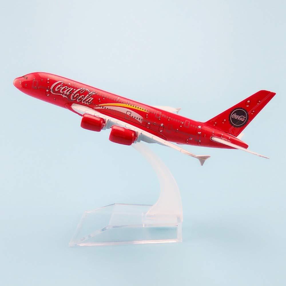 Ochoos 16cm 合金メタル レッド エアマレーシア航空機 エアバス 380 A80 飛行機モデル 航空機モデル スタンド付き ギフト B07NS396RG