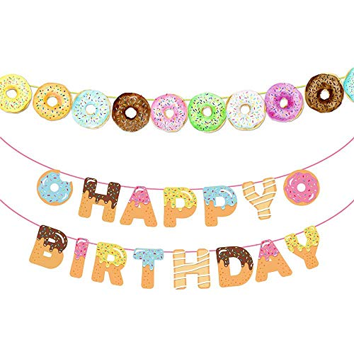 RainPeach Donut Happy Birthday BannerDoughnut Bunting Garland Boy Girl Birthday Party Supplies Wall Decoration 27 pcs