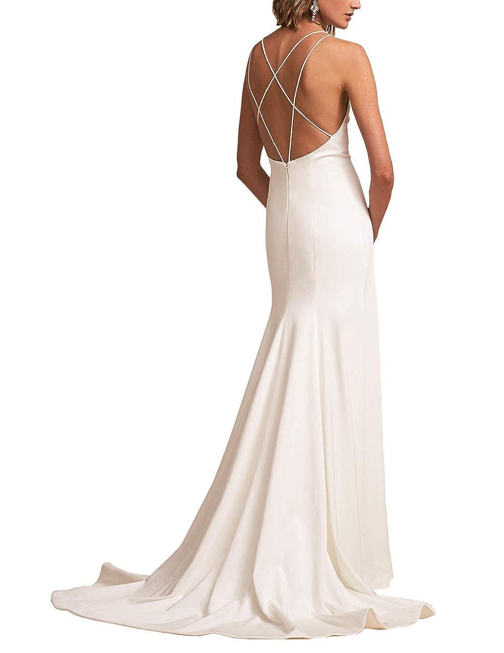 WHZZ Womens Satin Mermaid Wedding Dresses Spagetti Strap Bridal Wedding Gowns