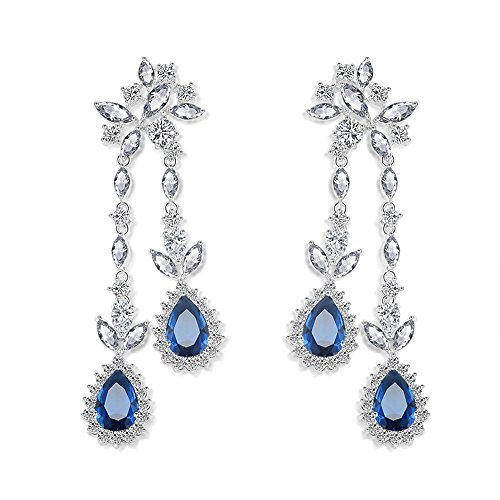 Wedding Cubic Zircon Flower Crystal Rhodium Teardrop Pierced Dangle Bridesmaid Bridal Earrings (The Bow Crystal Earrings)