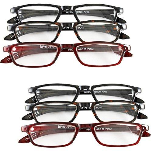 (Set of 6) Magnifying Reading Glasses +3.0 - Half Eye Style for Men & - Reading Frame Half Tortoiseshell Glasses