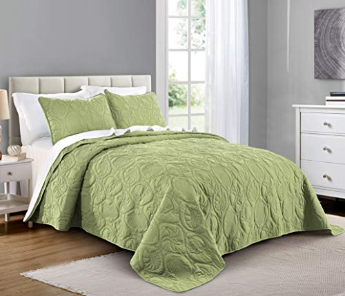 PURE BEDDING Quilt Set Twin Size Sage - Oversized Bedspread - Soft Microfiber Lightweight Coverlet for All Season - 2 Piece Includes 1 Quilt and 1 Sham, Ocean Star Pattern (Bedspreads Ocean)
