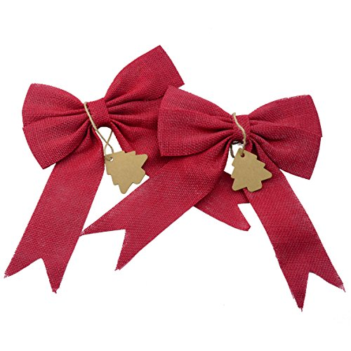 Aokbean Set of 2 Wedding Decor Bows Christmas Tree Topper Bow Rustic Decor Burlap (Christmas Red)