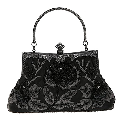 Handbags Purse Women Flora Bags Wedding Evening Clutch Retro Black Bead EPLAZA Party Satin HqwRSOO