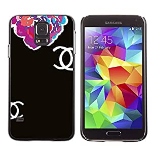 Paccase / SLIM PC / Aliminium Casa Carcasa Funda Case Cover - Begonia Floral Black Clothing Fashion - Samsung Galaxy S5 SM-G900