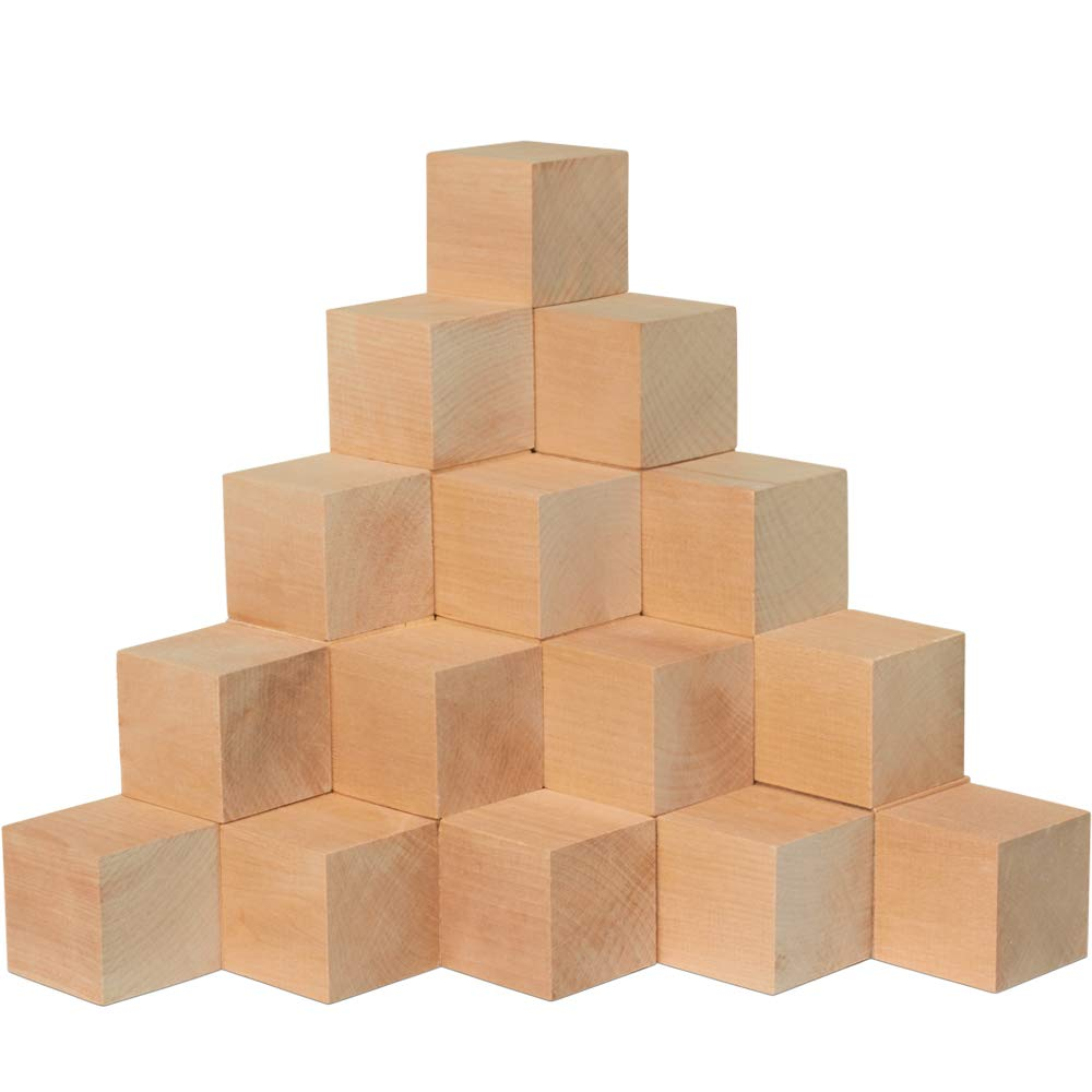 2 Inch Wooden Cubes Bag Of 6 Unfinished Hardwood Square Birch Blocks Baby Shower Decorating Cubes Puzzle Making And Diy Craft Projects2 Inch Wood