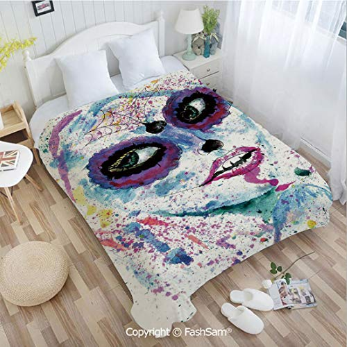 PUTIEN Unique Rectangular Flannel Blanket Grunge Halloween Lady with Sugar Skull Make Up Creepy Dead Face Gothic Woman Artsy Sofa Blanket for Bedroom(49Wx59L)