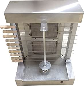 Bestone 2 Burners Propane Gas Grill Doner Kebab Automatic Shawarma Machine - Tacos Al Pastor with 10 Side Kebab Skewers