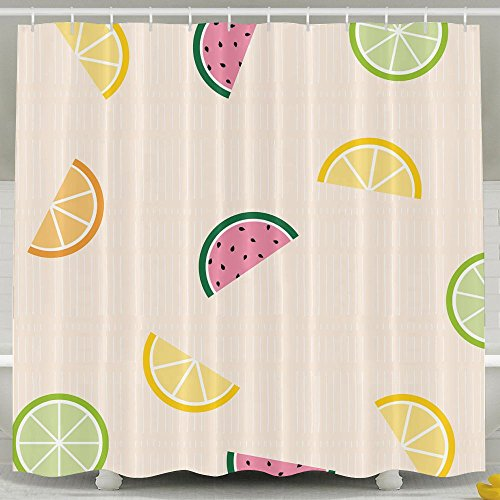 POOPEDD Fruits Wallpaper Shower Curtain, Fully Patterned Design Waterproof And Bacteria-proof Shower Curtain 6072 Inches, Non-toxic And (Bacteria Wallpaper)