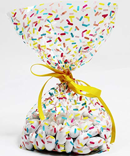 Donut Sprinkles Cellophane Treat Party Favor Bags with Grosgrain Ribbon Ties. Pack of 12 Large Goodie Gift Bags for Kids, Girls Birthday Parties, Baby Showers & Celebrations. Multicolor Pastel