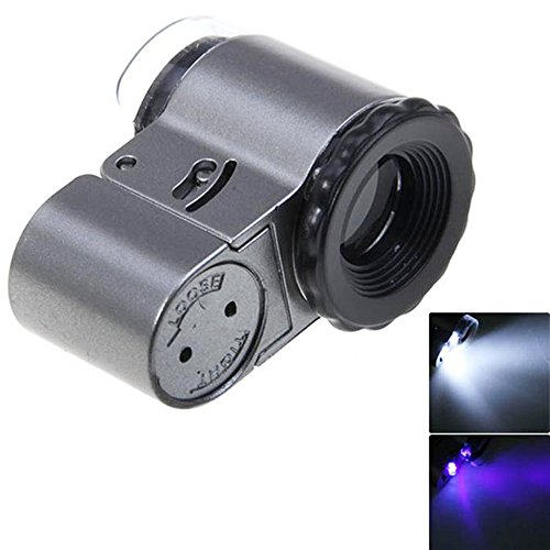 Neon 9882A 50X Pocket Jewelry Microscope Magnifier Loupe Magnifying Glass with 2 White LED Lights and 1 UV LED Light