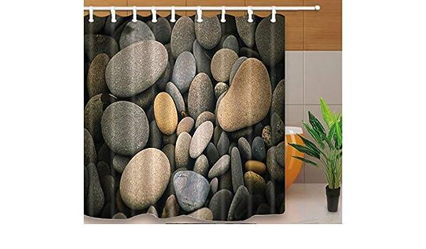 Yiciyici Diseño Cortinas De Ducha Piedras Y Lotus En La Playa Estilo De Serenidad Mamparas De Baño Tela Impermeable A Prueba De Moho con Ganchos-180(H) X200(W): Amazon.es: Hogar