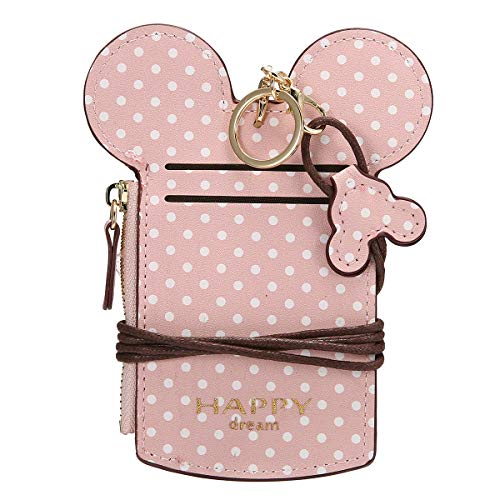 JOSEKO Women Cute Animal Shape Neck Bag Wave Dot Card Holder Lanyard Wallet Coin Purse Pink 5.51''x 0.59''x 2.95''(L x W x H)
