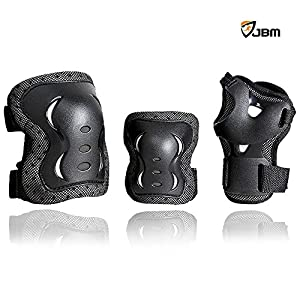 JBM® Children Cycling Roller Skating Knee Elbow Wrist Protective Pads--Black / Adjustable Size, Suitable for Skateboard, Biking, Mini Bike Riding and Other Extreme Sports from JBM International
