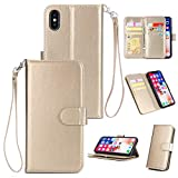 Shinyzone iPhone Xs 5.8 inch Wallet Case with 9 Card Slots,Luxury Premium Synthetic Leather Book Style Stand Cover with Wrist Strap and Magnetic Closure Protective Cover-Gold