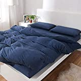 MisDress Jersey Knit Cotton Duvet Cover 3 Pieces Set Soft and Durable Comforter Cover and Pillow Shams Solid Navy Blue Bedding Set Twin/Twin XL Size for Boys Girls