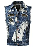 URBANCREWS Mens Hipster Hip Hop Washed Biker Denim Vest Jean Jacket Blue, L