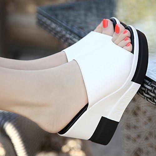 AWXJX Summer womens flip flops Leatherette Outer wear Word trailer waterproof Light bottom 7 US//37.5 EU//4.5 UK White