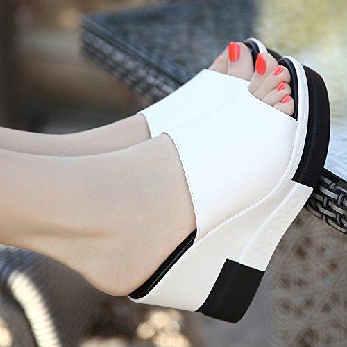 AWXJX Sommer- Frauen Flip Flops Kunstleder äußeren Verschleiß Wort Anhänger Wasserdicht Licht unten Weiß 7.5 US 38 EU 5 UK