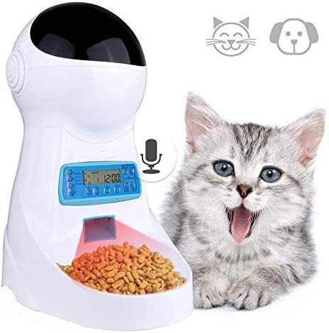 Currens Automatic Cat Feeder Pet Food Dispenser for Cats Dogs, Timed Auto Dog Feeder with Portion Control, Voice Recorder up to 4 Meals per Day