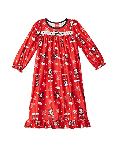 (Disney Girls' Big Mickey Mouse Holiday Family Sleepwear Collection, Candy Cane, 8 )